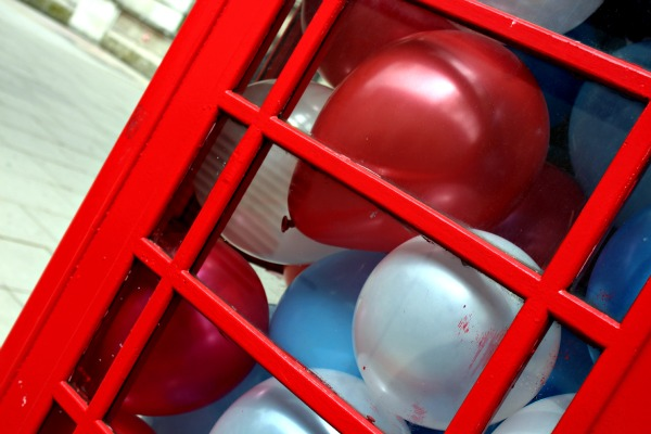 Dream, balloon, London, blue, white, red, happy, bubble, phone booth, party, London calling