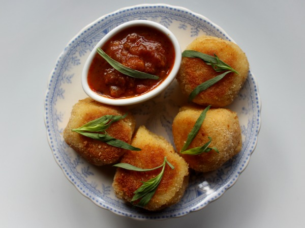 Cooking with Vini and Bhal's rustic Indian curry sauces -  potato croquettes with a heart of spice