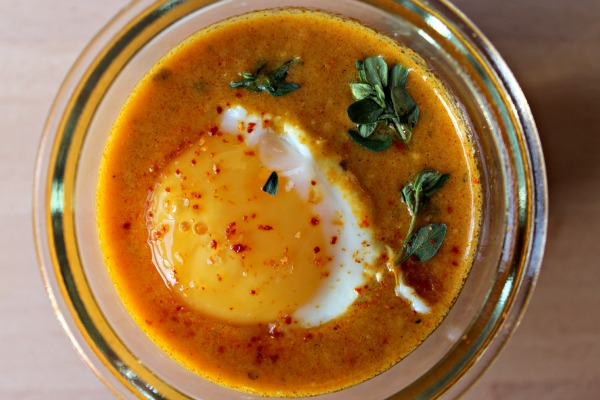 Cooking with Vini and Bal's rustic Indian curry sauces – oeuf cocotte