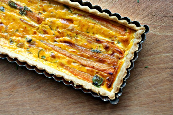 Cooking with Vini and Bal's rustic Indian curry sauces -  carrot, pineapple and spices tart