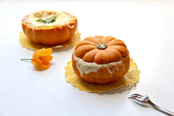 Cooking with alpro cuisine baked pumpkin and cream for Alpro soja cuisine
