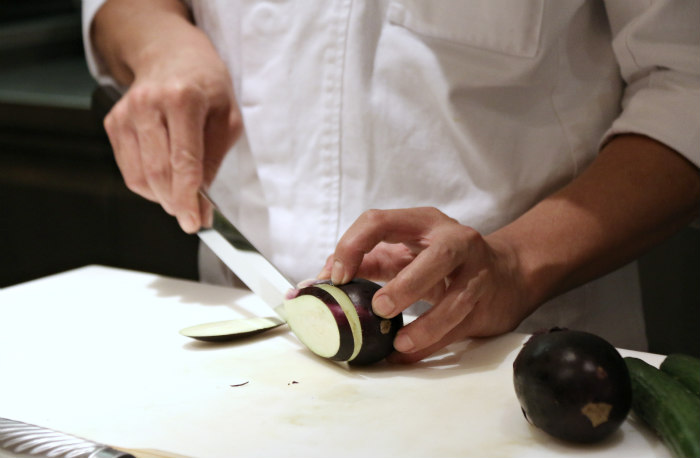 Washoku japanese cuisine slicing aubergine