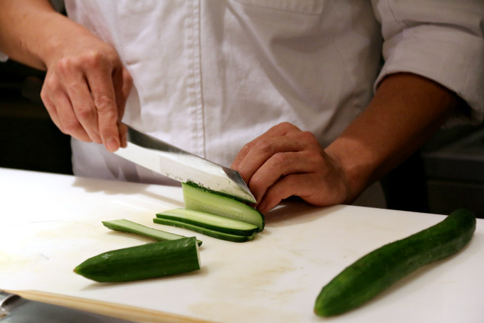 Washoku japanese cuisine slicing cucumber