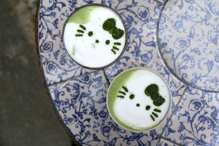 London Tombo Hello Kitty cafe cat matcha latte