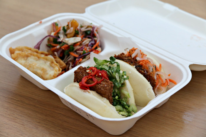London The Kitchens at Old Spitalfields Market Yum Bun lunch