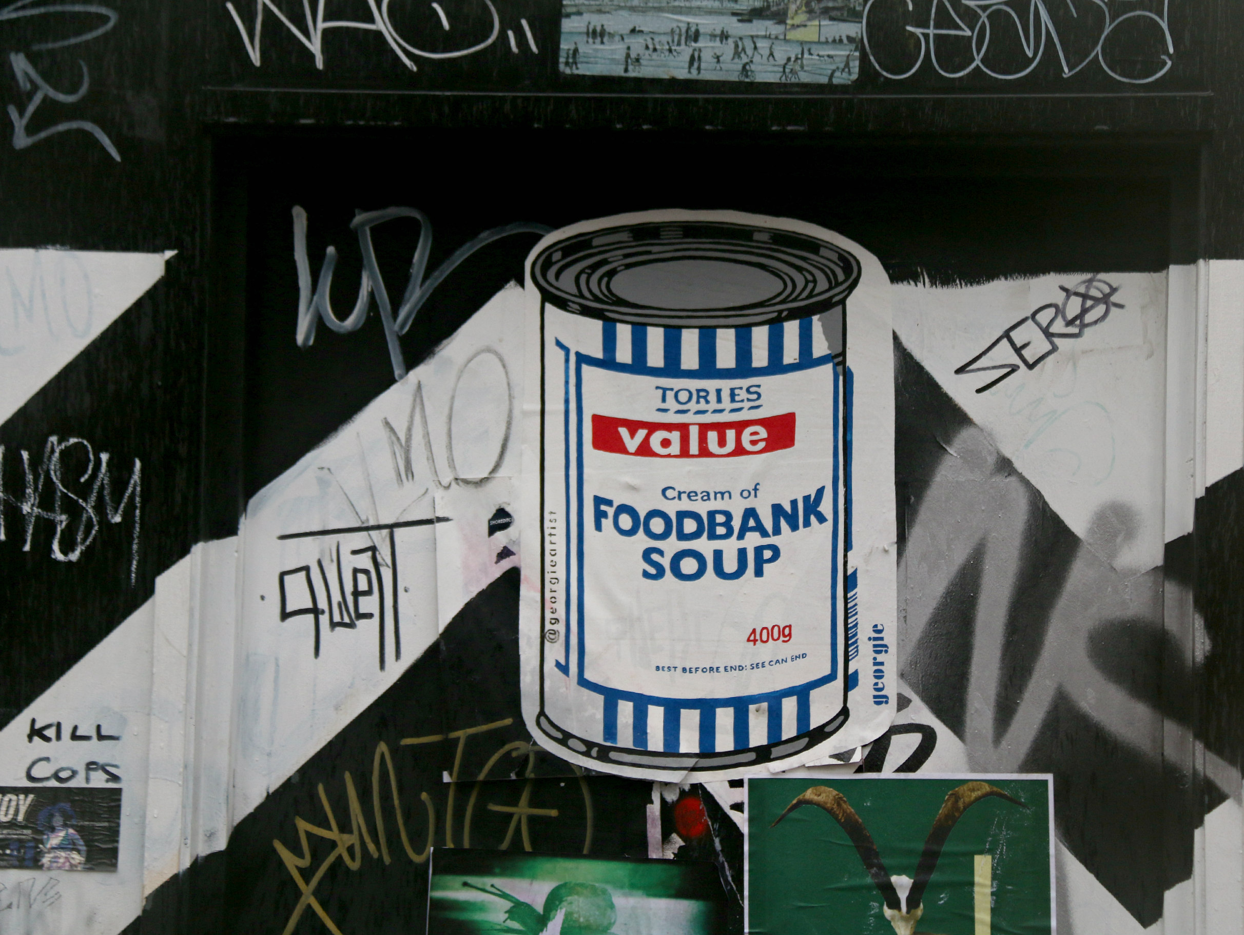 London Shoreditch street art Brick Lane Tesco Foodbank soup Banksy