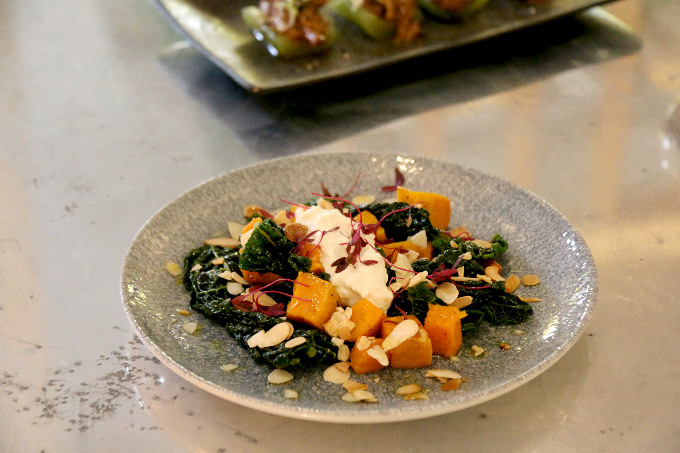 London Pomona restaurant Notting Hill butternut squash cavalo nero cottage cheese toasted almond flakes