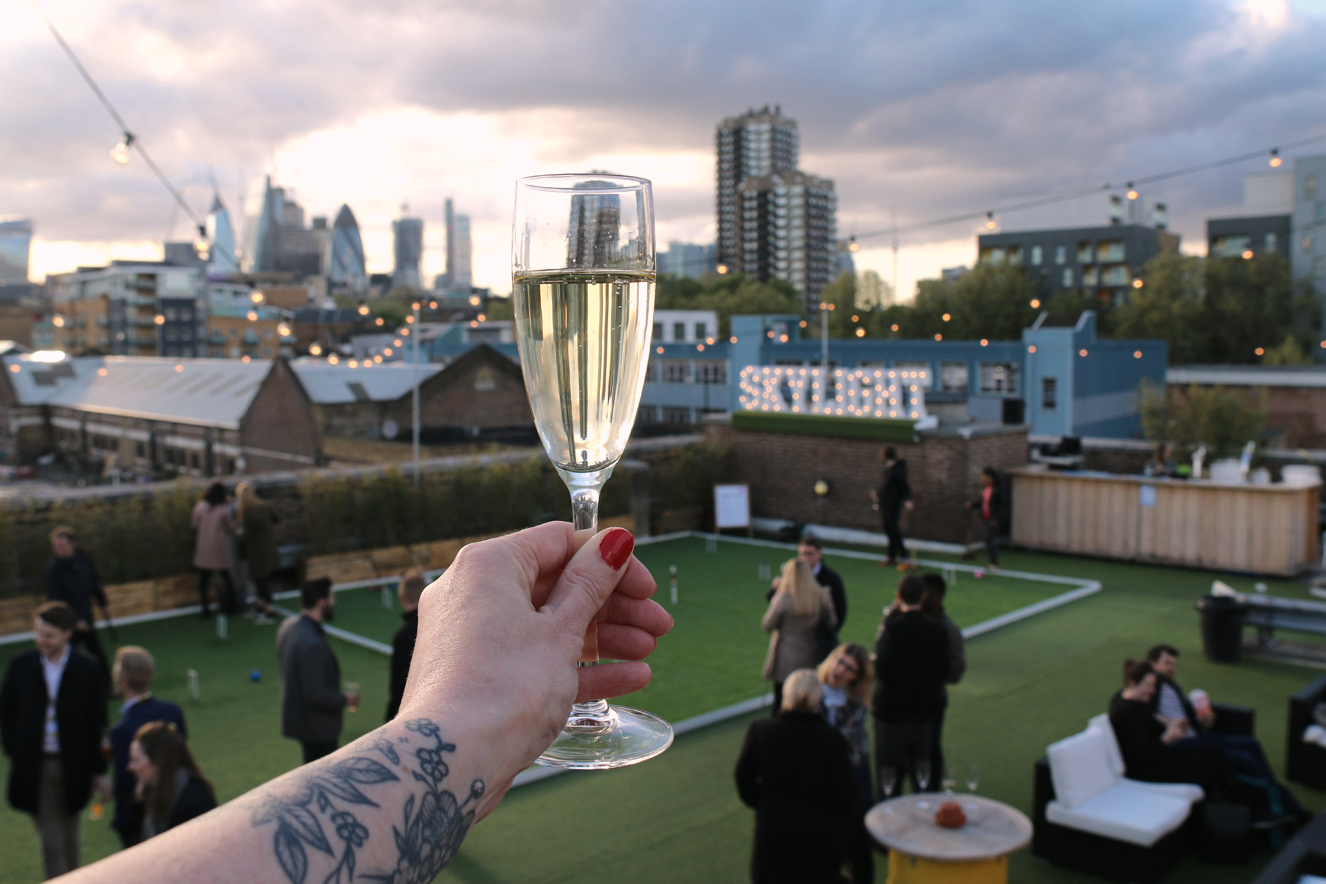 Skylight rooftop summer Tobacco Dock bubbly