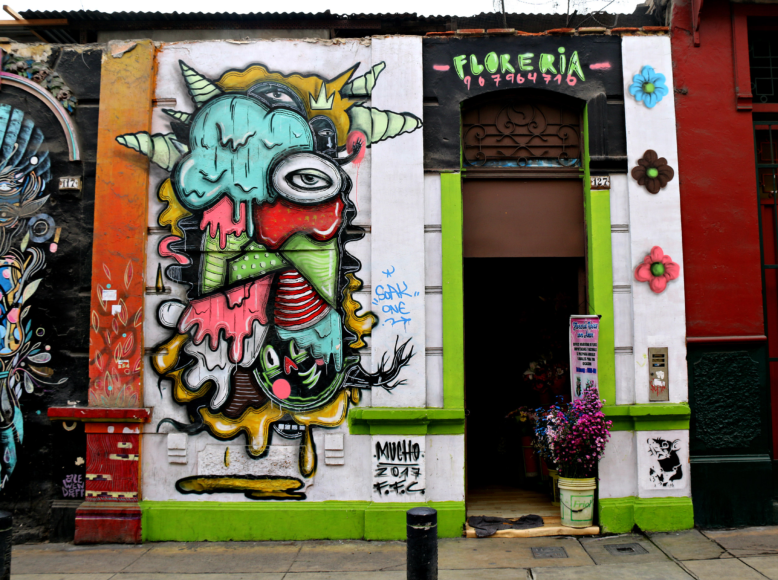 where to to find street art in Barranco, Lima on Jirón Domeyer. Mural by Mucho