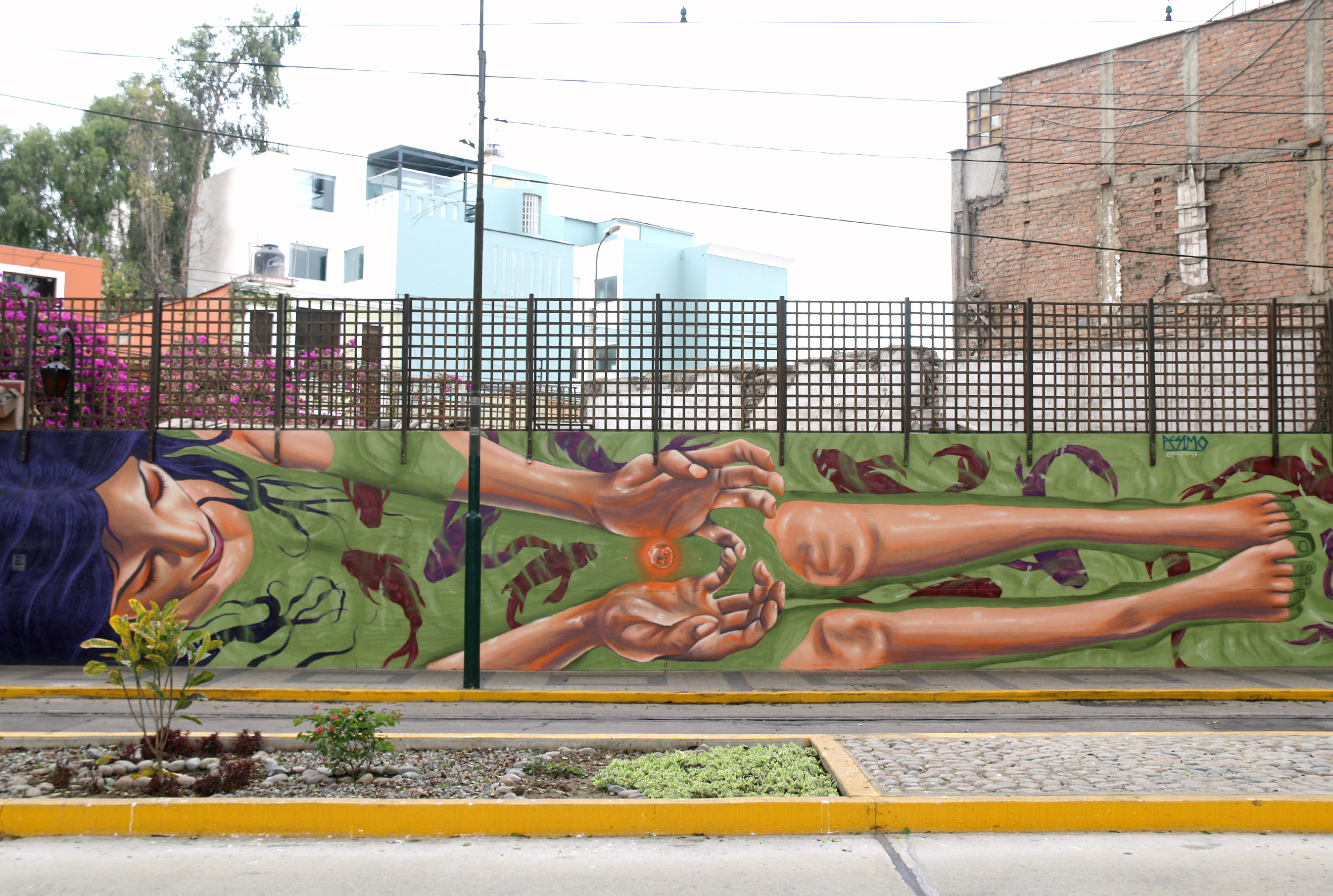where to to find street art in Barranco, Lima on av. Pedro de Osma, mural by Pésimo