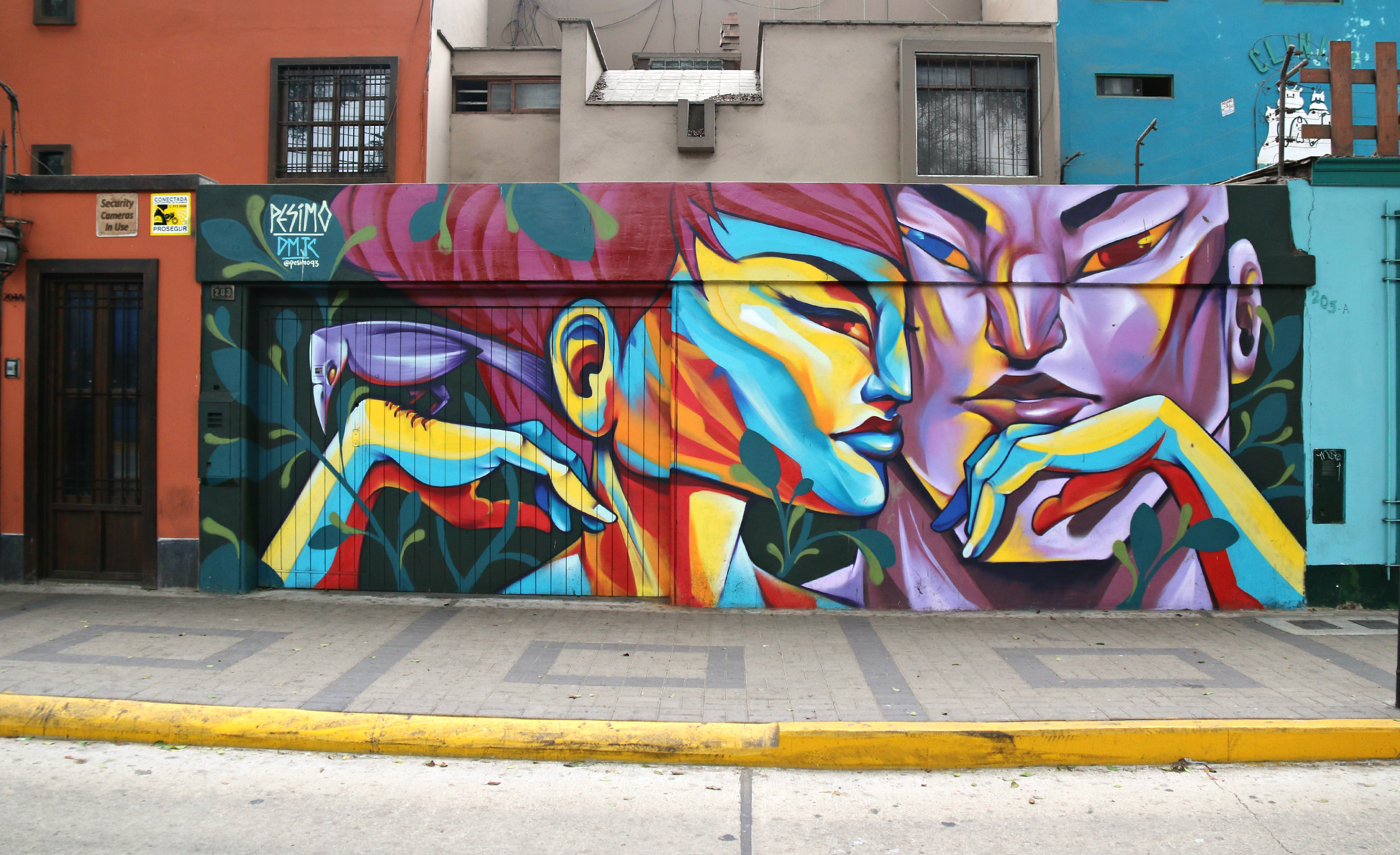 where to to find street art in Barranco, Lima on av. Pedro de Osma, mural by Pésimo 4