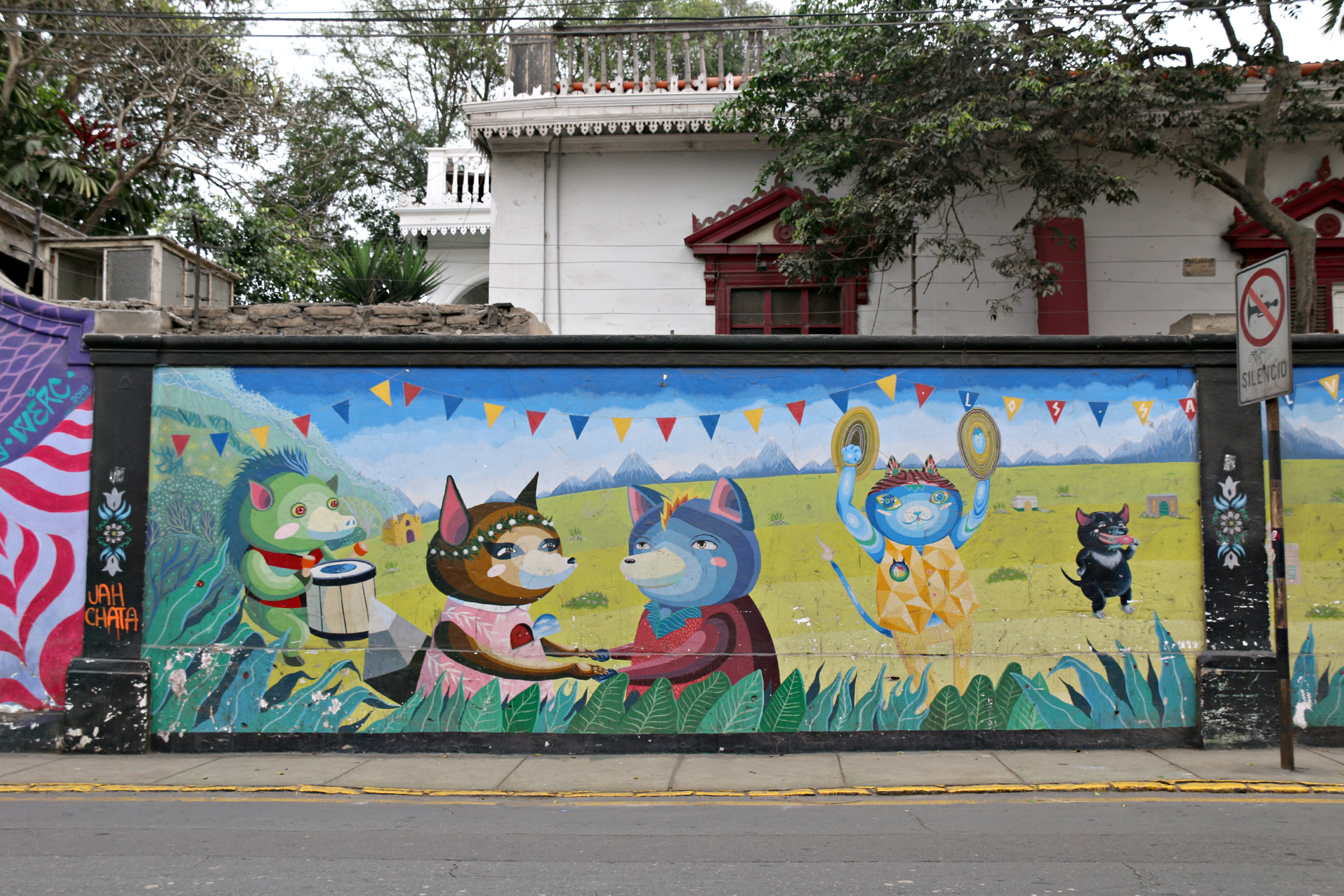 where to to find street art in Barranco, Lima on 28 de Julio Street piece by Los Salvajes