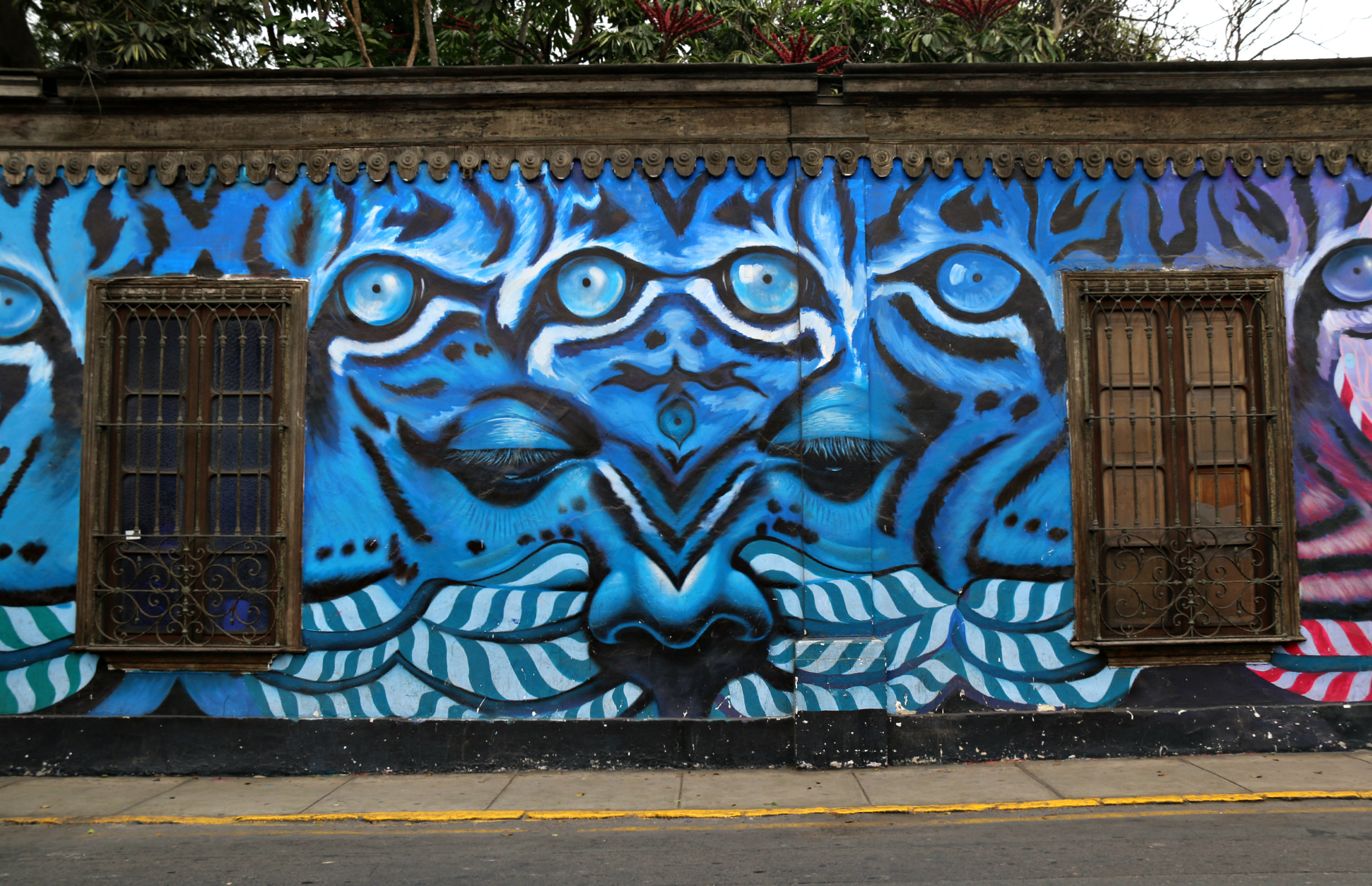 where to to find street art in Barranco, Lima on 28 de Julio Street Collaboration Geraluz and w3rc Real Eyes Realize