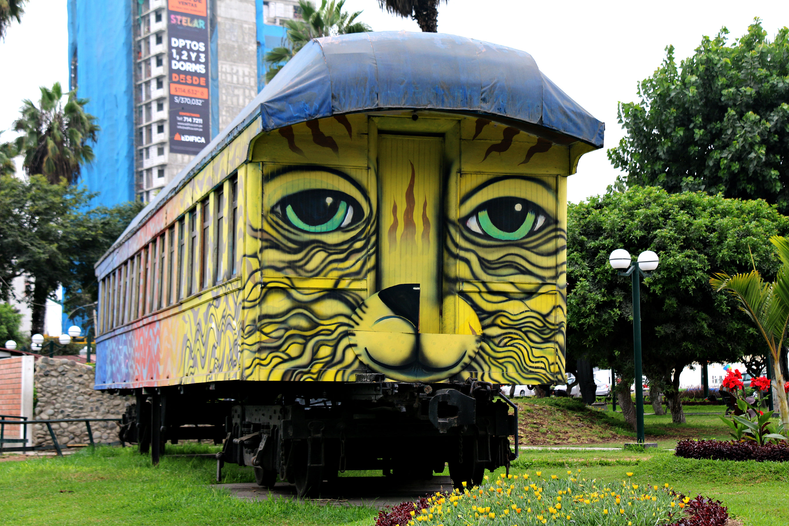 where to to find street art in Barranco, Lima cat bus by Los Salvajes aka Roberto Peremese, Nemo, Jimbo
