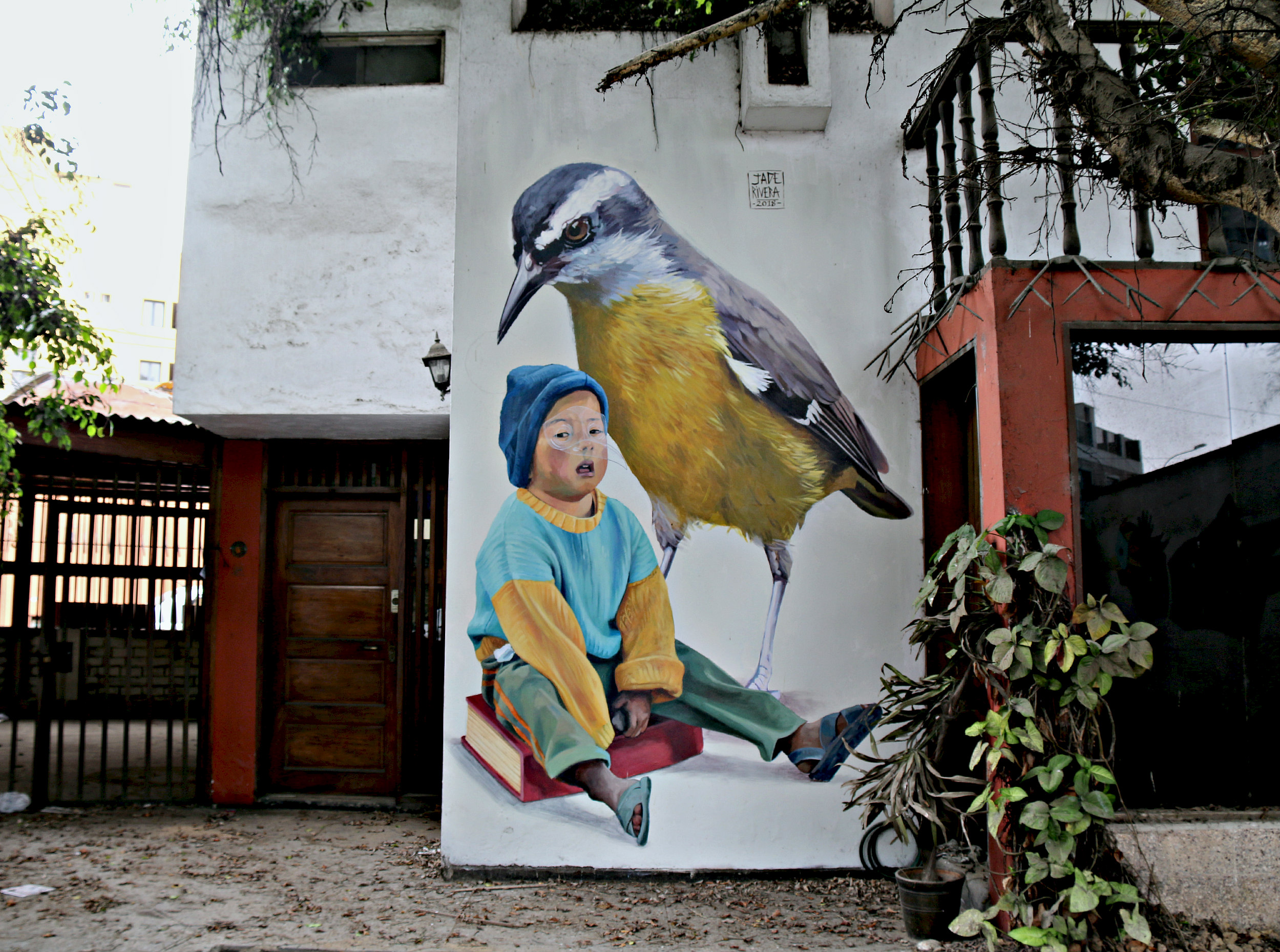 where to to find street art in Barranco, Lima on 28 de Julio Street, mural by Jade Rivera