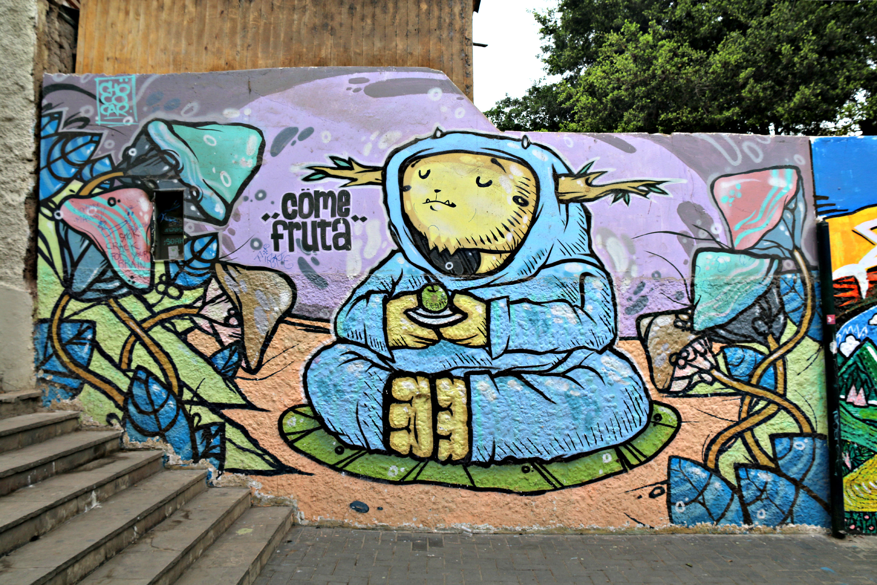 where to to find street art in Barranco, Lima along Oraya stairs. Mural by Chöco Car