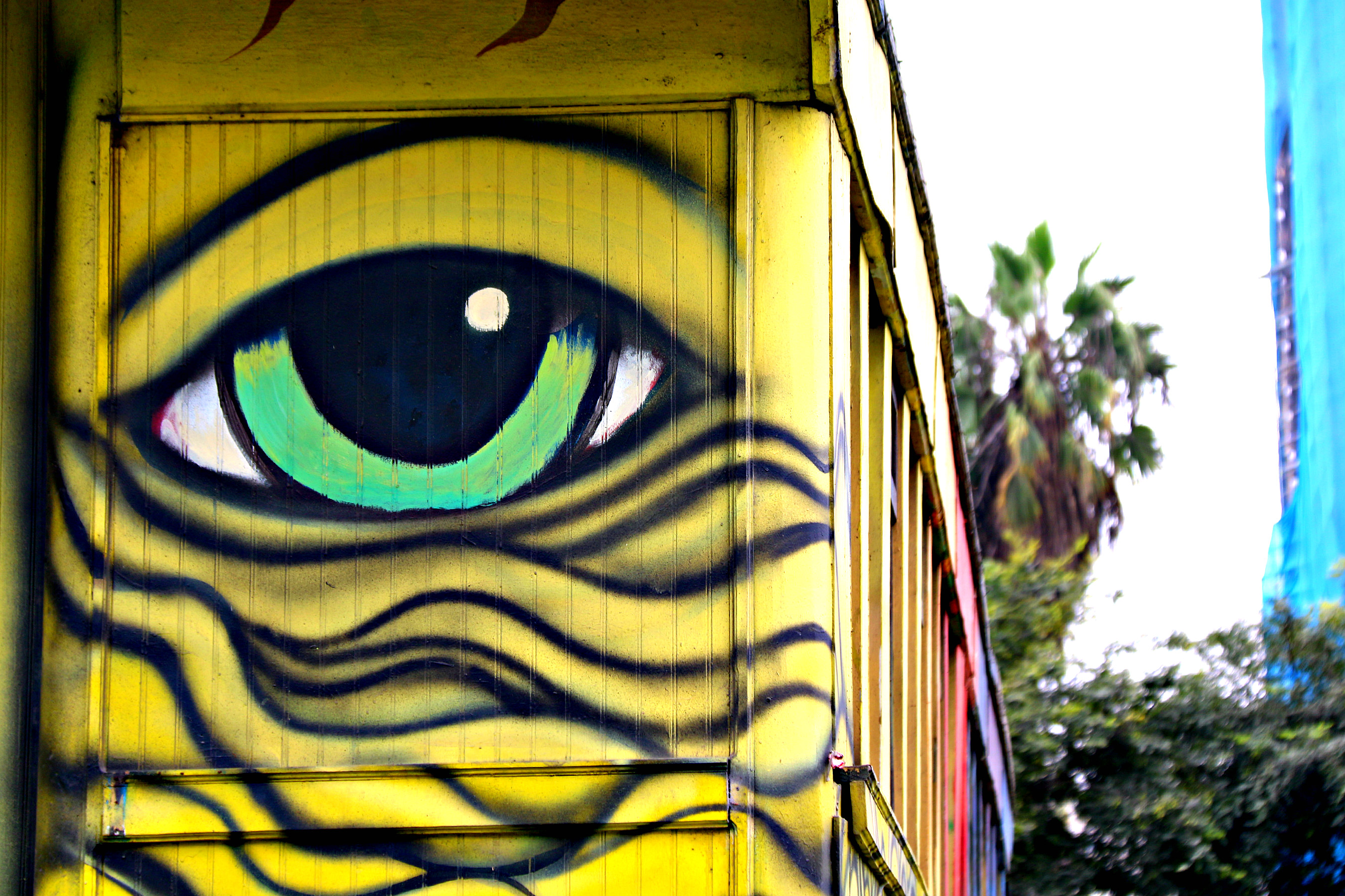 where to to find street art in Barranco, Lima cat bus by Los Salvajes aka Roberto Peremese, Nemo, Jimbo 2