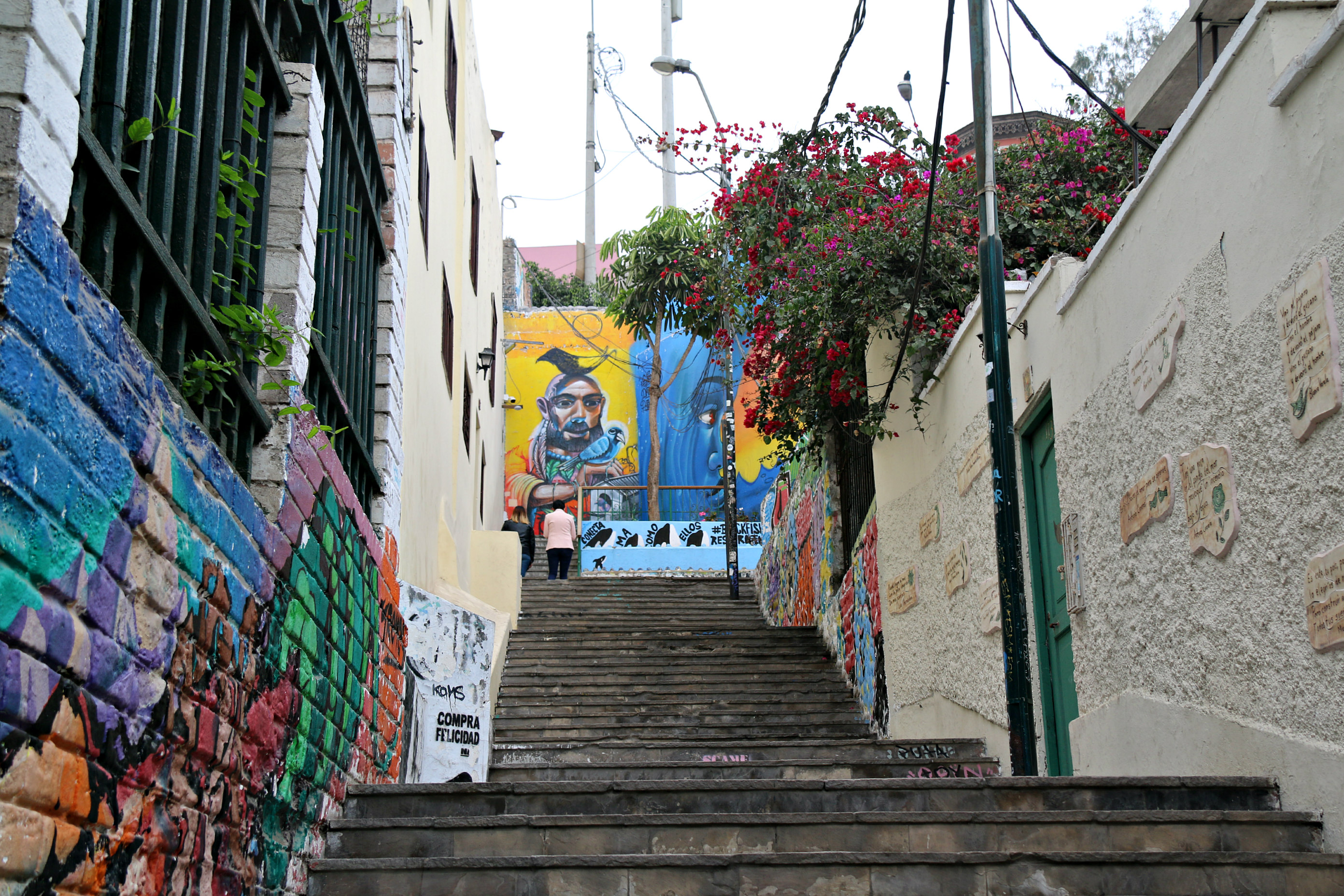 where to to find street art in Barranco, Lima along Oraya stairs