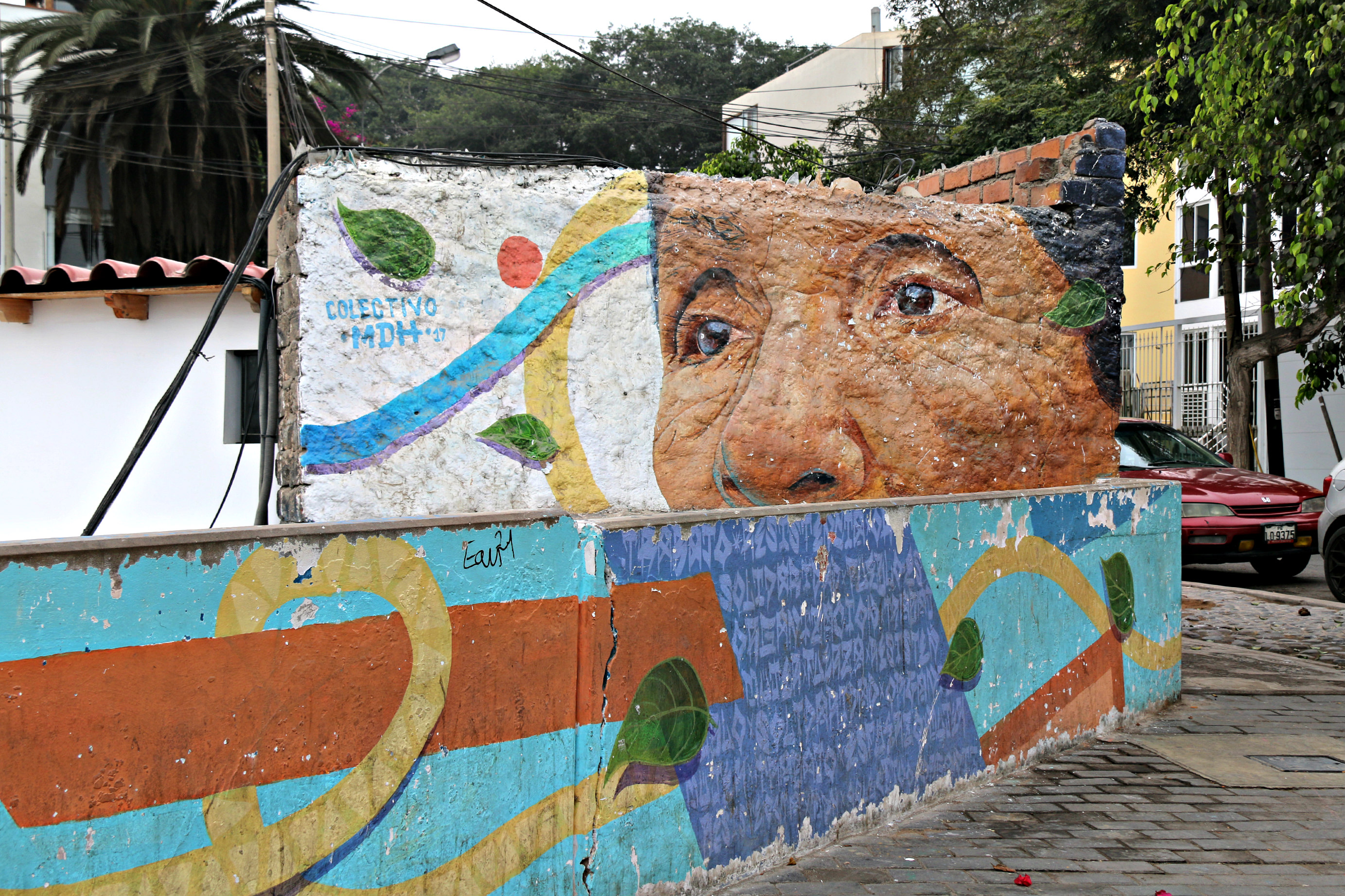 where to to find street art in Barranco, Lima along Oraya stairs Mural representing Mrs Victoria by Colectivo MDH