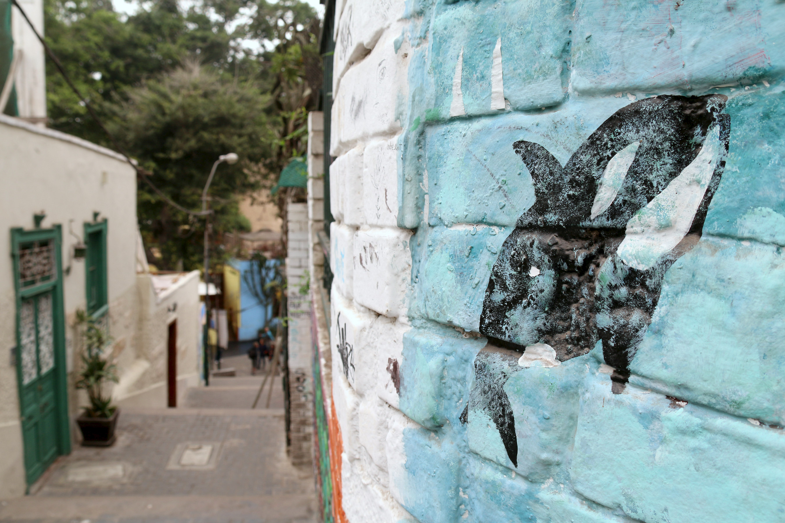 where to to find street art in Barranco, Lima along Oraya stairs. Whales by Seamanoid