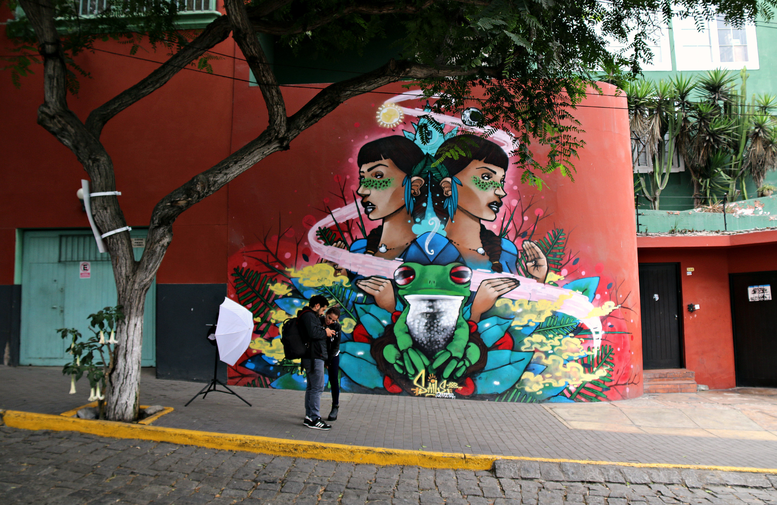 where to to find street art in Barranco, Lima Bajada de Baños Street mural by saile 2