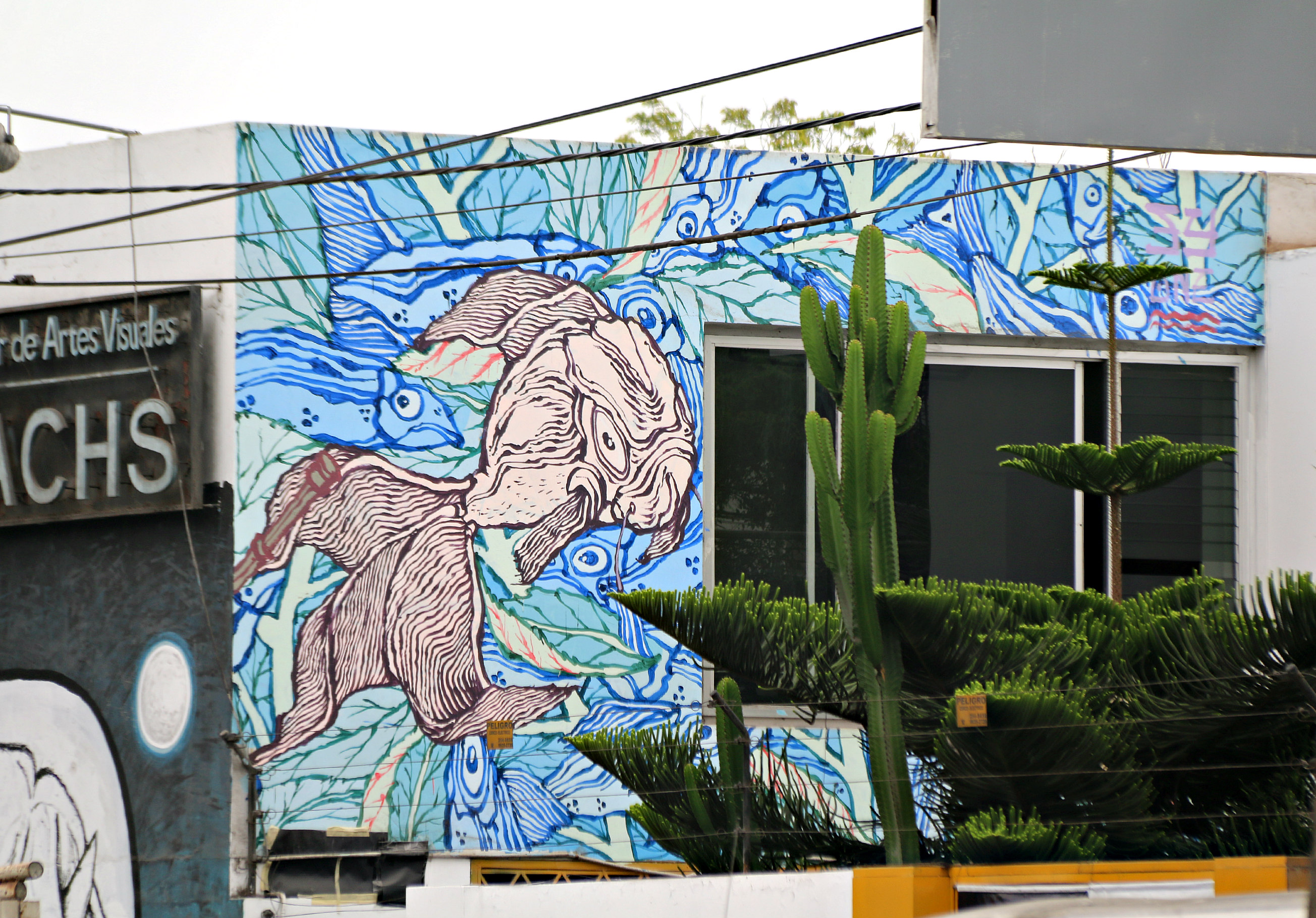 where to to find street art in Barranco, Lima.E. Sachs Instituto de Artes Visuales on San Grau, mural by Abraham Portocarrero, also known as Yandy Graffer