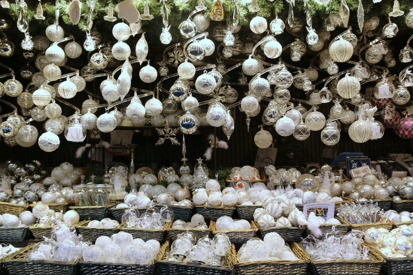 Vienna Christmas Market white decorations and baubles