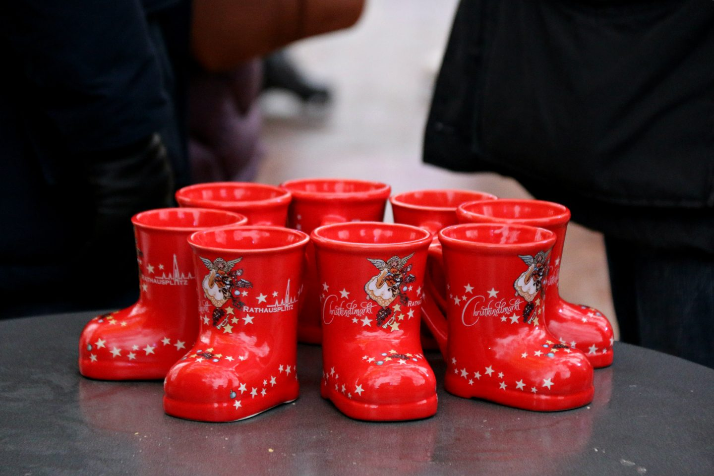 Vienna Christmas Market mulled wine punsch in a boot mug