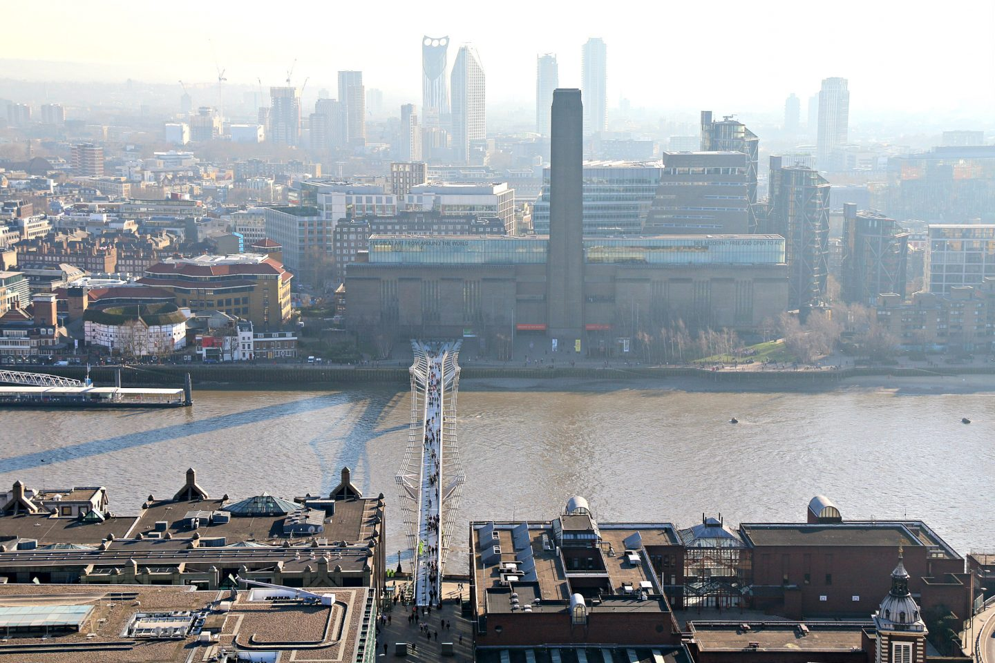 View on Millenium Bridge  and the Tate Modern from Saint Paul's Cathedral
