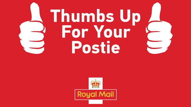 Thumbs up for your postie royal mail