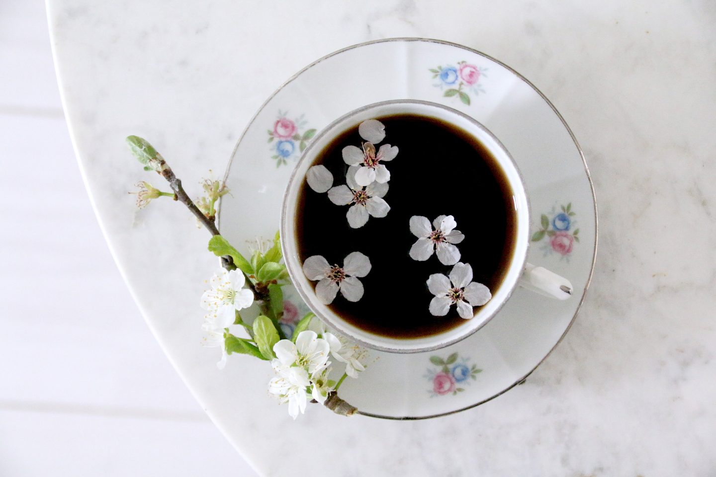 apple blossom spring garden coffee time